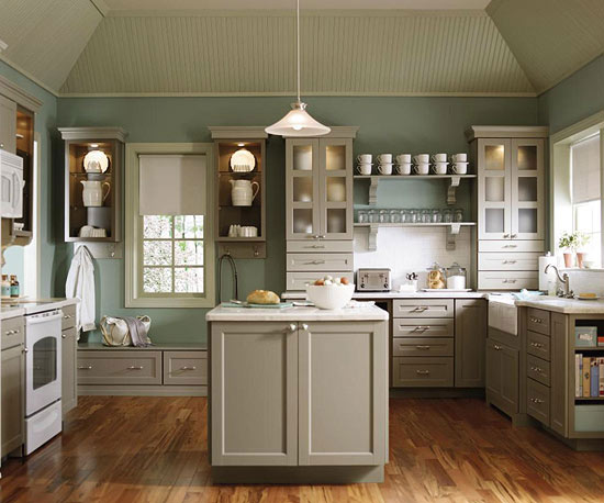 Spectacular Martha Stewart U Shaped Kitchen With Incredible Attention To Detail In Vaulted Tray Ceiling And Dusky Teal Walls As Backdrop For Taupe Martha