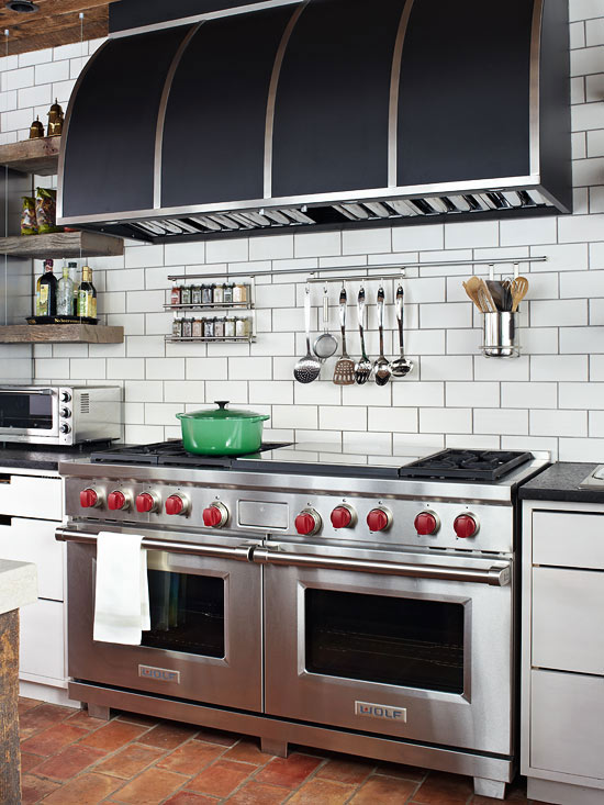 Subway Tile Kitchen Backsplash - French - kitchen - BHG