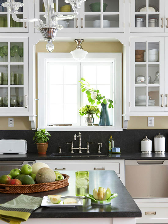 Cabinets Over Kitchen Sink Cottage Kitchen Bhg