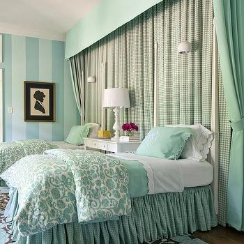 Turquoise Blue Girls Room, Eclectic, Bedroom, Sherwin Williams Raindrop, Tobi Fairley
