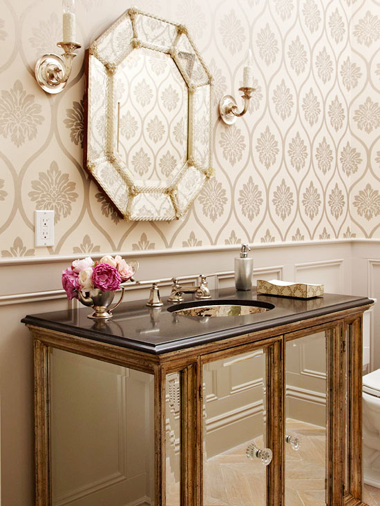 Gold Mirrored Bathroom Vanity French Bathroom Bhg