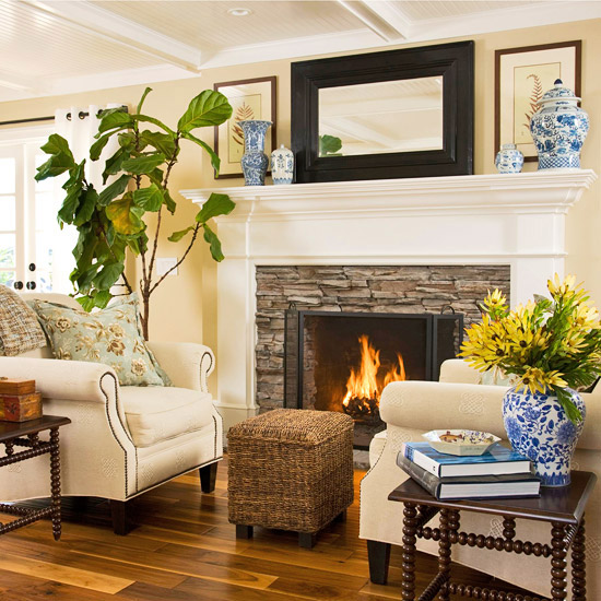 Fireplace seating cottage living room bhg Fireplace setting ideas