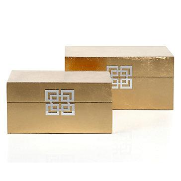 Z Gallerie Ming Boxes Set Of 2 Gold