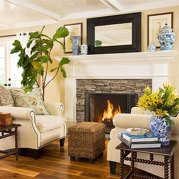Fireplace Seating, Cottage, living room, BHG