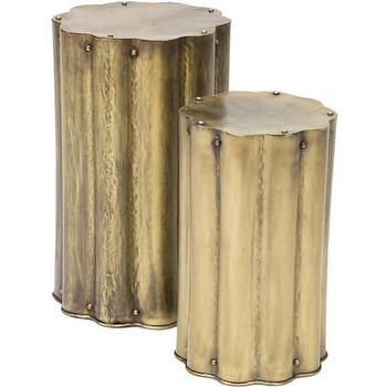 Zeb Corrugates Antique Brass Accent Table I High Fashion Home