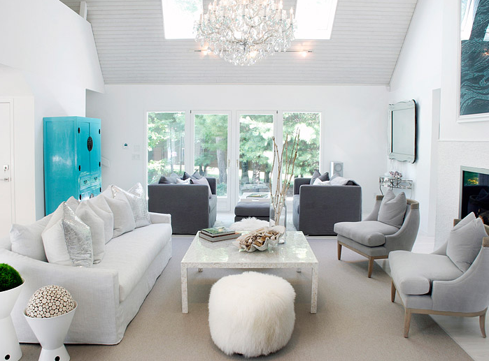 White and gray living room contemporary living room for Turquoise and white living room ideas