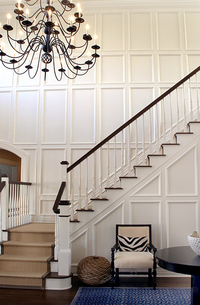 Two Story Foyer Paneling : Full wall moldings transitional entrance foyer elsa