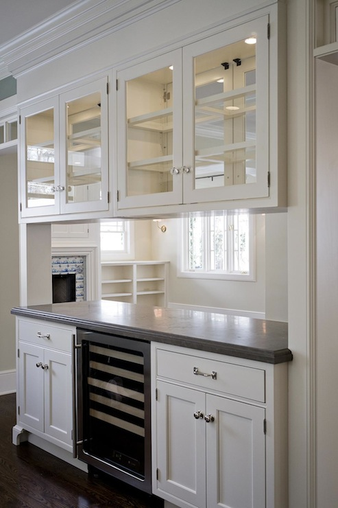 Glass Front Upper Cabinets Traditional Kitchen Cameo