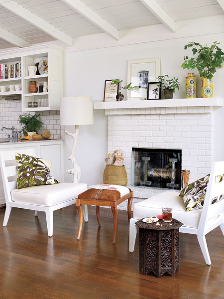 White Brick Fireplace Transitional Living Room Bear