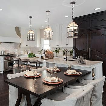 Black Trestle Dining Table Transitional, kitchen, Beckwith Interiors