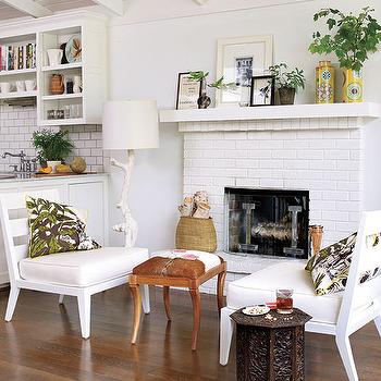 White Brick Fireplace Cottage Living Room Sherwin