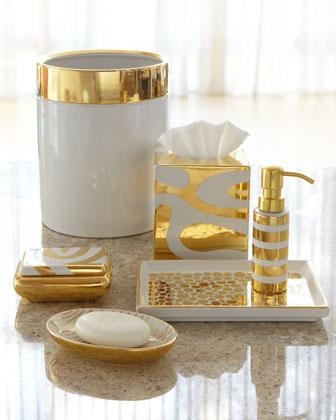 Porcelain gold vanity accessories neiman marcus for Black and gold bathroom accessories