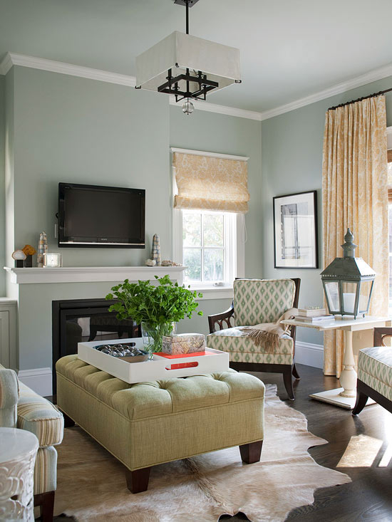 charming light green living room wall color | Green Tufted Ottoman - Cottage - living room - BHG