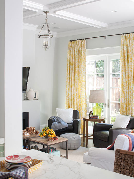 Black and gray living room contemporary living room - Grey and yellow living room curtains ...