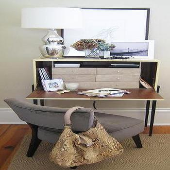 Living Room Desk, Transitional, den/library/office, Elizabeth Sullivan Design