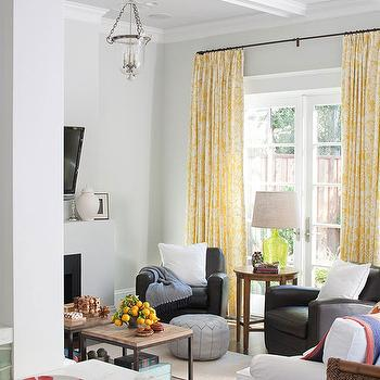 White and Yellow Curtains, Contemporary, living room, BHG