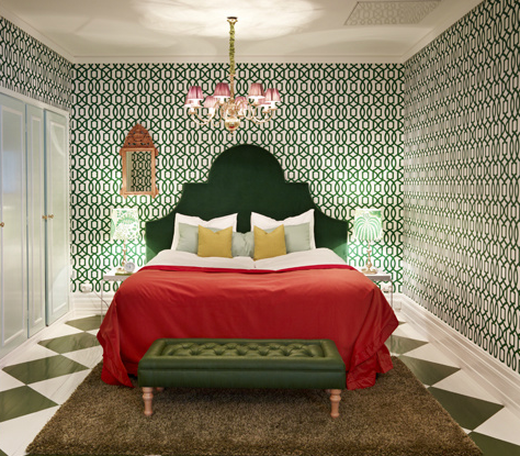 green headboard  eclectic  bedroom, Headboard designs