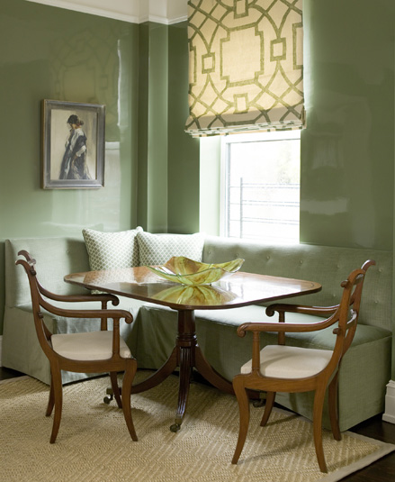 Gorgeous green dining room with glossy green lacquer walls and green tufted  built in banquette. Green Walls   Eclectic   dining room   Stark Paint Chelsea Green