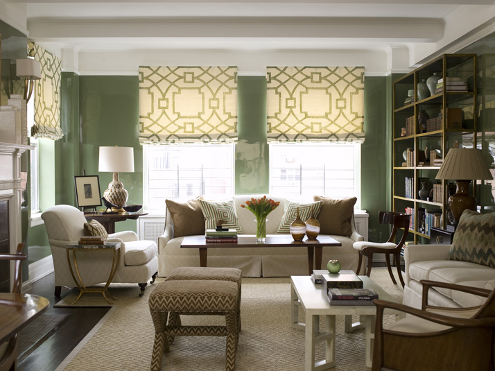 Fretwork Roman Shades Transitional Living Room
