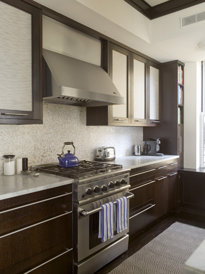 Modern Kitchen With Floor To Ceiling Espresso Kitchen Cabinets With Gray  Inset Door Panels.