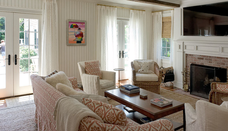 view full size Sweet cottage style living room with white beadboard