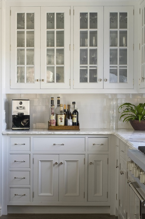 Glass-Front Kitchen Cabinets - Traditional - kitchen - Phoebe Howard