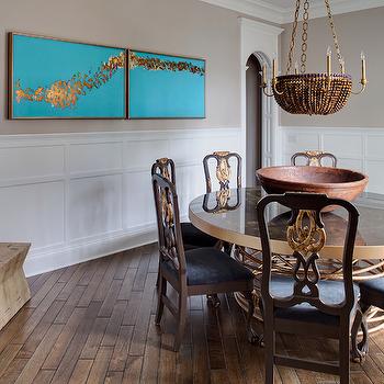 Diagonal Hardwood Floors, Contemporary, dining room, Buckingham Interiors