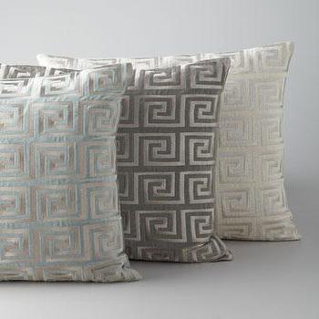 Greek Key Metallic Accent Pillow, Neiman Marcus