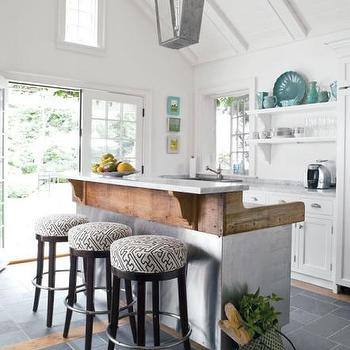 Reclaimed Wood Kitchen Island, Cottage, kitchen, At Home in Fairfield County