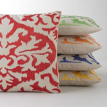 Ikat Detail Embroidered Pillow, Neiman Marcus
