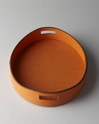 Orange Faux Leather Tray Neiman Marcus