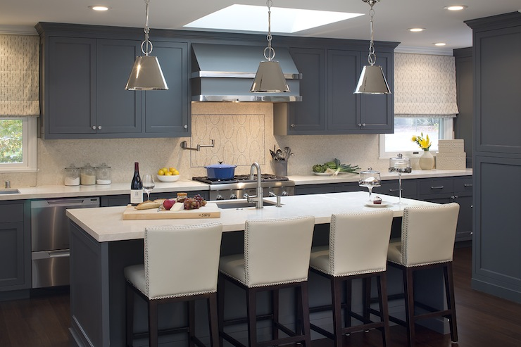 Blue Kitchen Cabinets Contemporary Kitchen Artistic