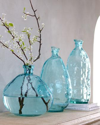 Turquoise Glass Vases I Horchow
