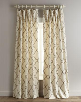 Rhombi Flocked Brown and Ivory Curtain
