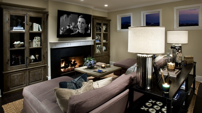 Basement tv room transitional media room vallone design Tv room