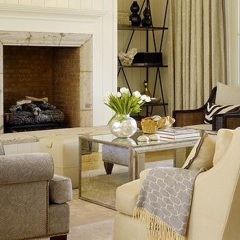 Mirrored Coffee Table, Transitional, living room, Vallone Design