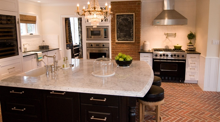 Brick Floor Kitchen- Transitional - kitchen - Vallone Design