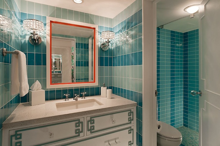 Teal Bathroom Contemporary Bathroom Vallone Design