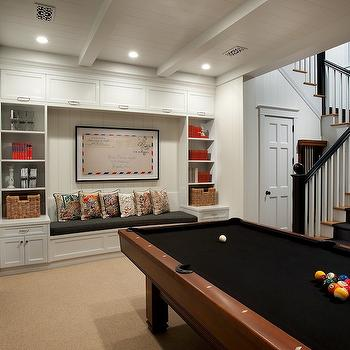 Basement Pool Room, Transitional, den/library/office, Vallone Design
