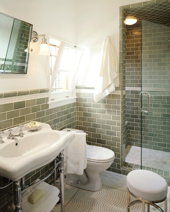 Green subway tile backsplash transitional bathroom jamie herzlinger - Bathroom subway tile backsplash ...