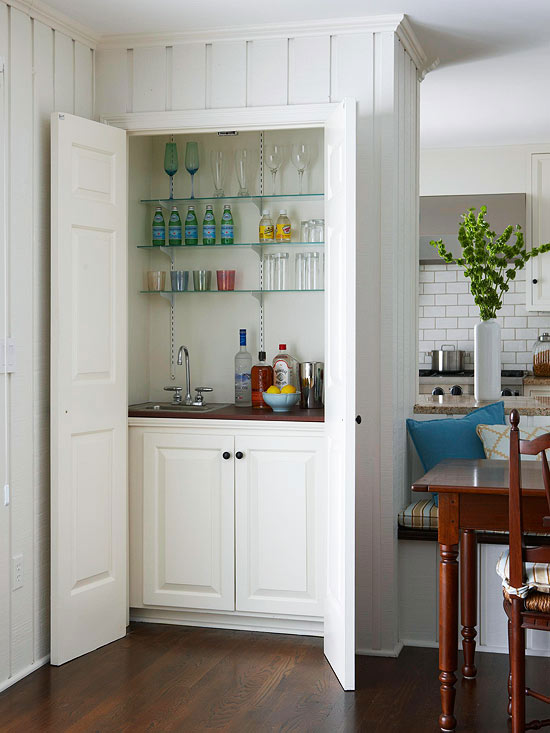 Hidden wet bar contemporary dining room bhg - Bar built into wall ...