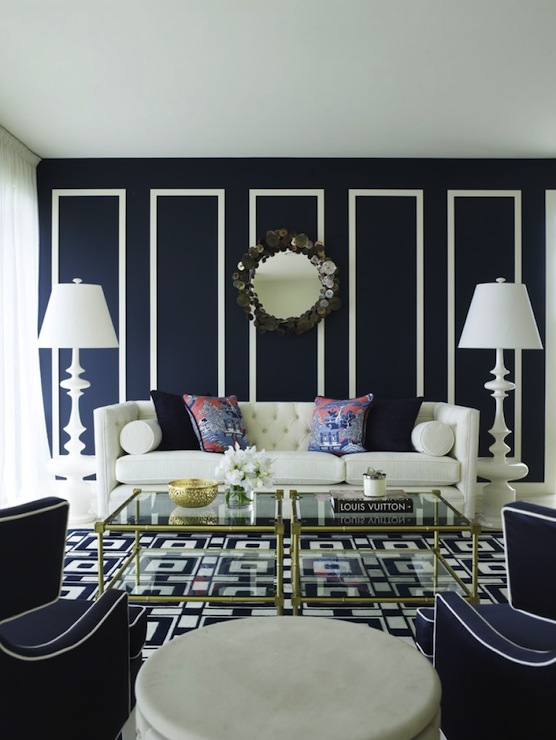 Contemporary White And Blue Living Room By Greg Natale View Full Size