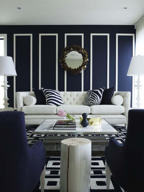 Navy blue living room chairs design ideas for Black white and blue living room ideas