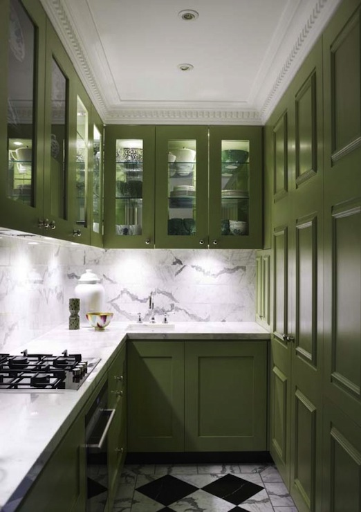 contemporary kitchen with granny smith apple green kitchen cabinets paired with calcutta marble countertops  white kitchen cabinets with green tiles design ideas  rh   decorpad com