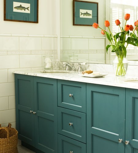 Teal Cabinets - Cottage - bathroom - House & Home