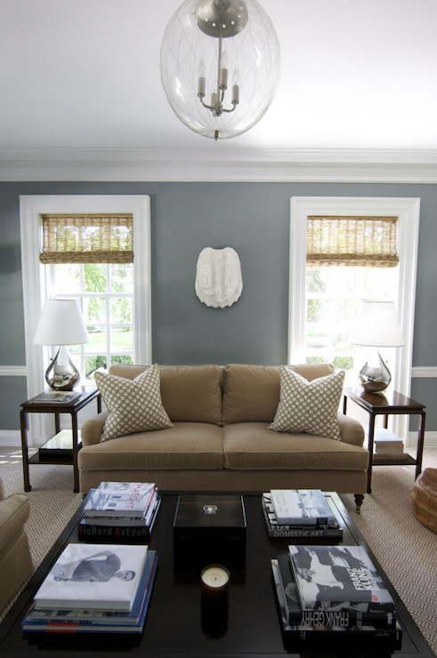 brown living room with steel blue walls paint color with glossy white