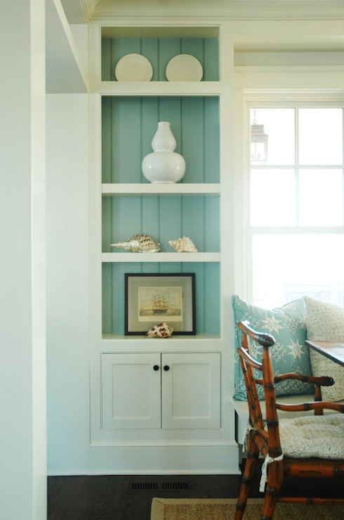 View Full Size Turquoise Blue Cottage Dining Room Morrison Fairfax Interiors Built In Buffet Cabinet With Grass Grasscloth Wallpaper