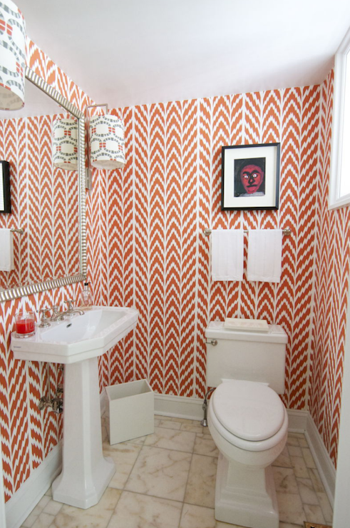 Coral Pink Geometric Wallpaper Contemporary Bathroom