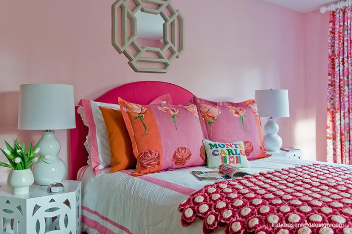 incredible hot pink orange bedroom | Pink Headboard - Contemporary - girl's room - Katie ...