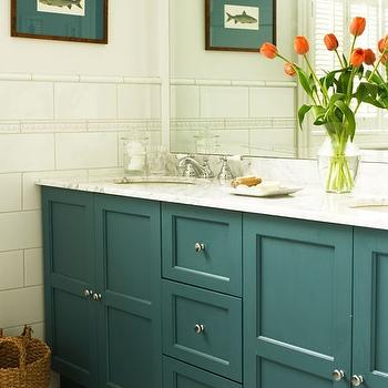 Teal Cabinets, Cottage, bathroom, House & Home